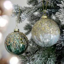 Luxe Ice Green and Winter White Splatter Bauble - Set of 2