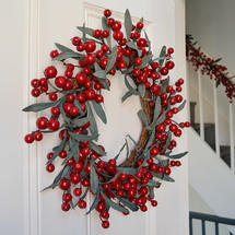 Cranberry and Olive Leaf Wreath