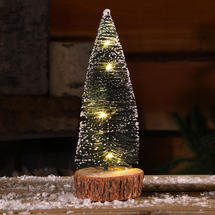 Micro Light Table Top Snowy Bottle Brush Tree - Small