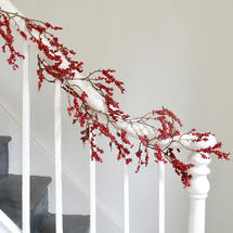 Glittered Berry Garland Decoration - Ruby