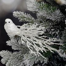 Glitterati Bird Tree Decoration - Ice White