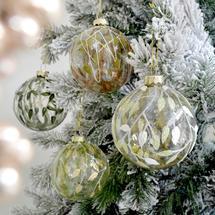 Festive Foliage Glass Painted Bauble Decoration - Set of 4