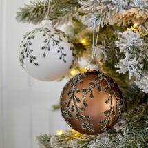 Frosty Winter Hedgerow Bauble - set of 2