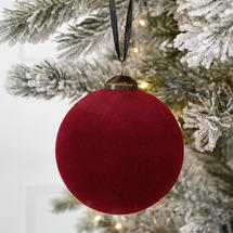 Cranberry Flocked Hanging Bauble - Small