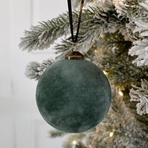 Festive Green Flocked Hanging Bauble - Small