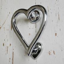 Heart Door Knocker - Chrome