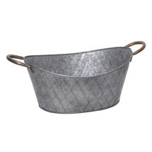 Oval Galvanised Planter with Brass Handles