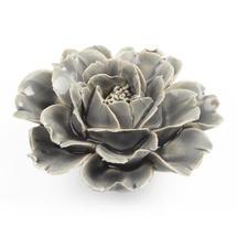 Ceramic Coral Rose Flower - Grey