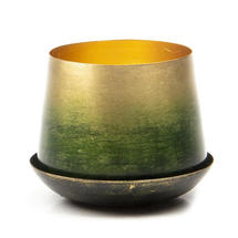 Small Lustre Planter with Saucer - Forest & Gold