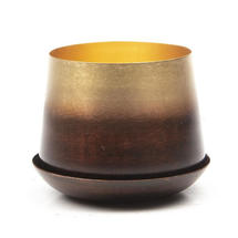 Small Lustre Planter with Saucer - Mahogany & Gold