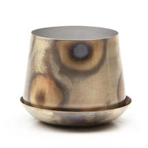 Small Lustre Planter with Saucer - Silver