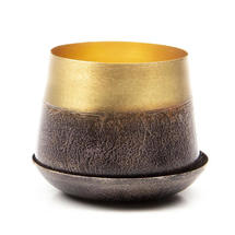 Small Lustre Planter with Saucer - Brown & Gold