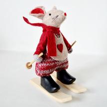 Alpine Mice on Skis - Lady Red Scarf