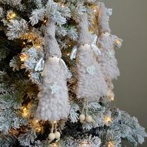 Mink Grey Nordic Christmas Angel Decorations - Set of 3