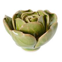 Ceramic Coral Rose Flower  - Green