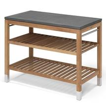 Pantry Large Work Table Teak/Stainless Steel