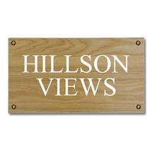 Solid Oak Two Line House Sign